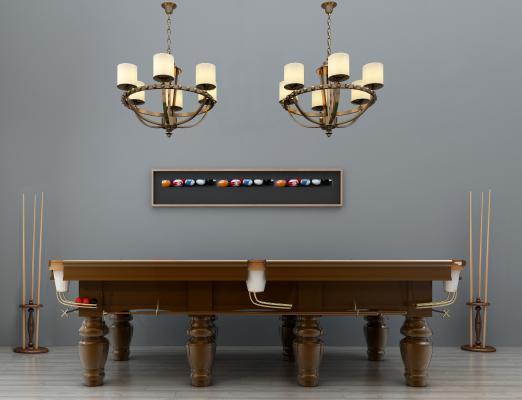 美式台球桌台球杆吊灯装饰画组合3D模型【ID:331495889】
