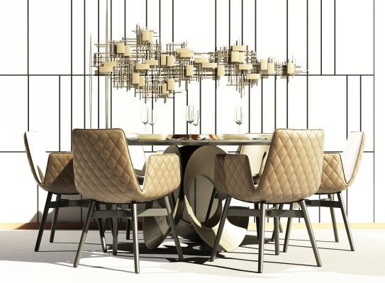 現代餐桌椅組合3D模型【ID:748641146】