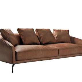 现代皮质双人沙发3D模型【ID:643416501】