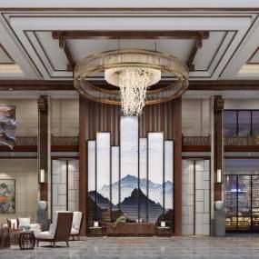 新中式酒店大堂3D模型【ID:732724063】