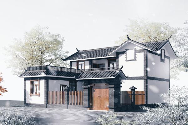 中式传统民居别墅3D模型【ID:146096359】