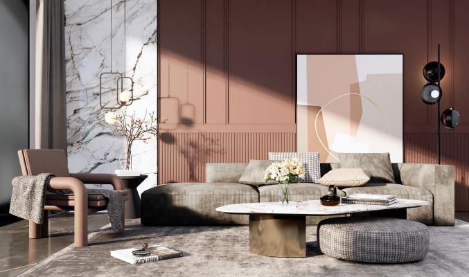 现代轻奢沙发茶几组合SU模型【ID:453666177】