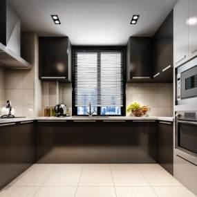 现代厨房3D模型【ID:533566340】