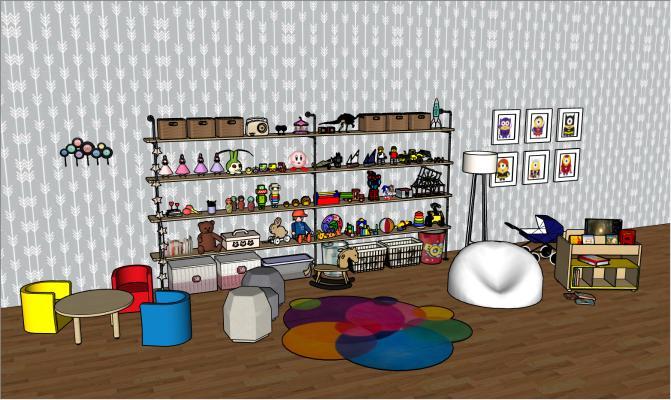 現代兒童房玩具柜子SU模型【ID:245558559】
