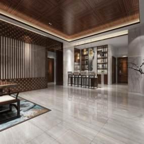 新中式茶楼3D模型【ID:632122644】