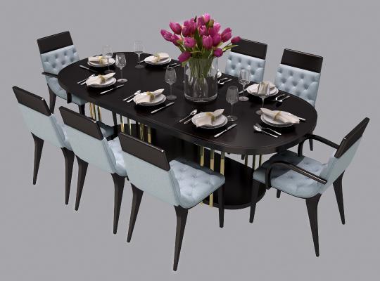 后现代餐桌椅组合3D模型【ID:830648855】
