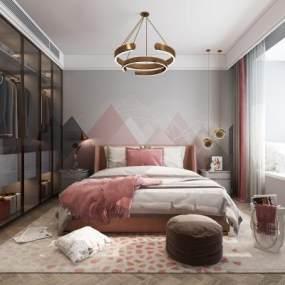 北欧卧室3D模型【ID:534828204】