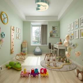 现代儿童娱乐室玩具组合3D模型【ID:532537925】