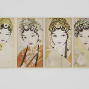 中式元素人物装饰画 3D模型【ID:241363905】