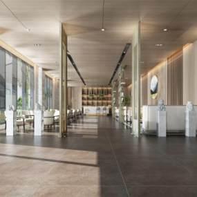 现代风格售楼部大厅接待处3D模型【ID:950537649】