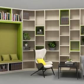 现代书架沙发座休闲椅组合3D模型【ID:131312560】