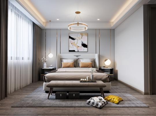 现代卧室3D模型【ID:552304237】