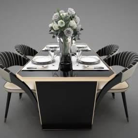 现代风格餐桌3D模型【ID:852647810】