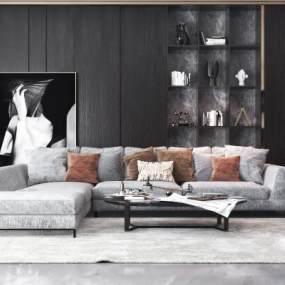 现代沙发茶几组合3D模型【ID:634445762】
