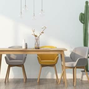 北欧餐桌椅组合3D模型【ID:734912114】