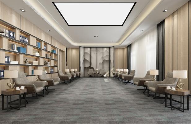 新中式图书馆接待室3D模型【ID:942114331】