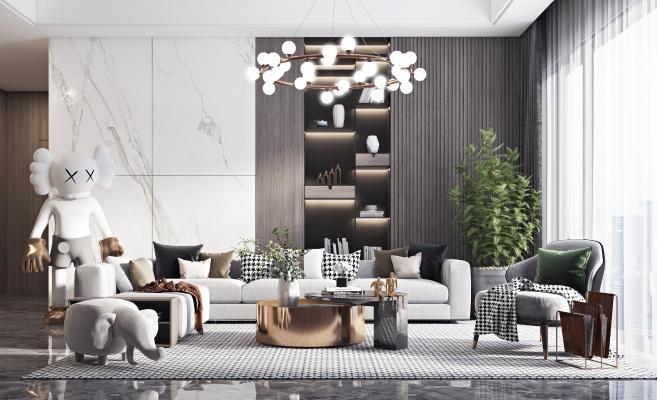 现代沙发组合3D模型【ID:644386774】