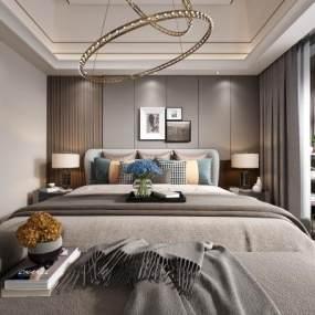 现代轻奢卧室3D模型【ID:541645270】