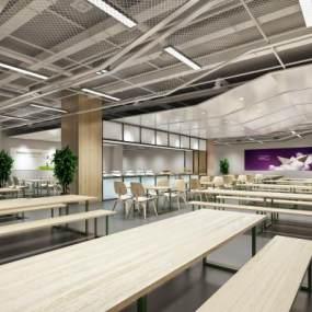 现代简约员工食堂3D模型【ID:633160202】