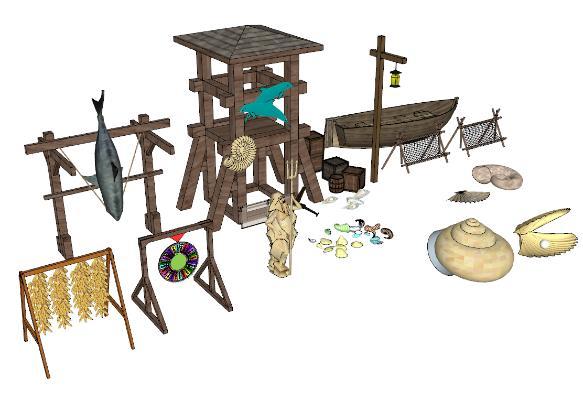 中式渔船水船渔文化小品SU模型【ID:652090413】