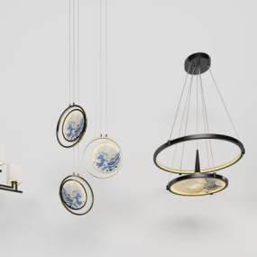 新中式吊燈3D模型【ID:753682827】