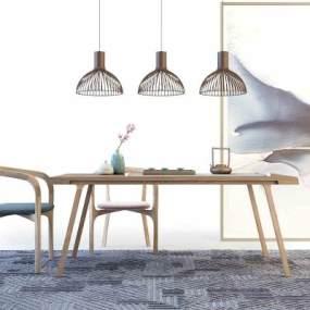 新中式茶桌椅吊灯组合3D模型【ID:936044501】