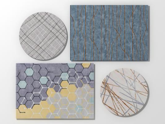 現代北歐地毯組合3D模型【ID:342102205】