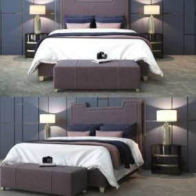 现代床双人床床具3D模型【ID:832688729】