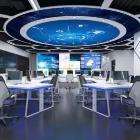 现代科技办公室3D模型【ID:945704087】