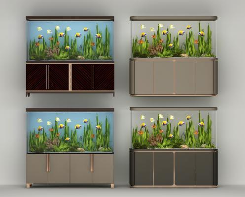 現代魚缸組合3D模型【ID:334761680】