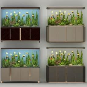 现代鱼缸组合3D模型【ID:334761680】