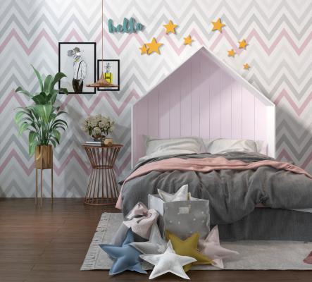 北欧儿童床3D模型【ID:843550864】