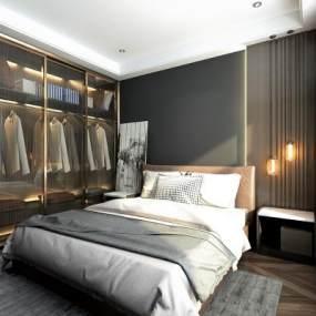 现代简约卧室3D模型【ID:841681756】
