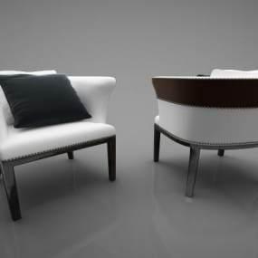 现代皮革沙发 3D模型【ID:642342414】