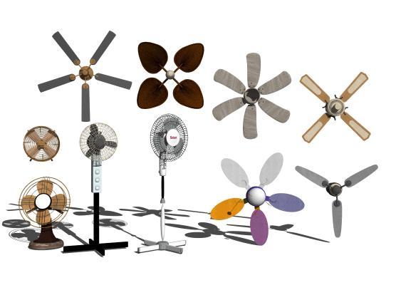 現代電扇風扇吊扇落地扇1SU模型【ID:747736615】