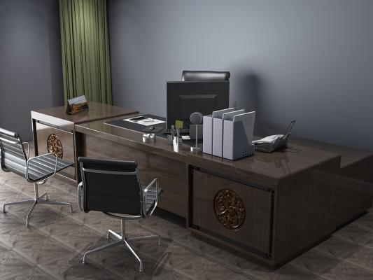 新中式大班台办公桌3D模型【ID:930758118】