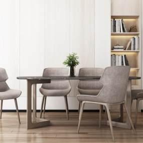 北欧餐桌椅组合3D模型【ID:834777867】