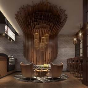 工业风风格咖啡厅3D模型【ID:643306310】