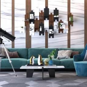 现代沙发茶几3D模型【ID:633093797】