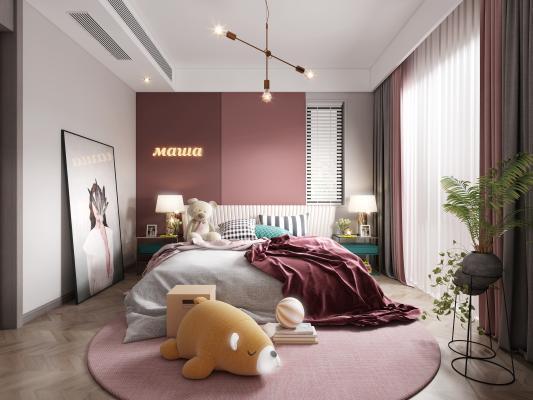 现代卧室3D模型【ID:552425233】