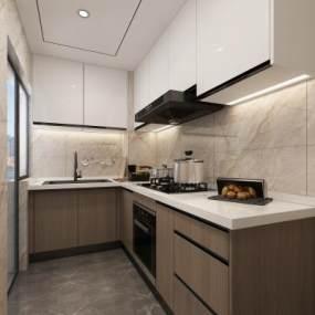 現代廚房3D模型【ID:550481305】