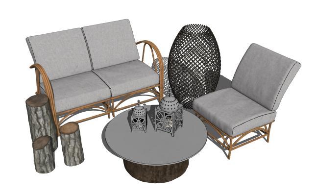 现代户外沙发茶几组合SU模型【ID:453903127】