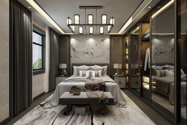 新中式卧室3D模型【ID:542336249】