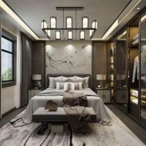 新中式卧室 3D模型【ID:542336249】