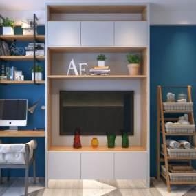 现代电视柜书桌椅置物架装饰柜组合3D模型【ID:130543157】