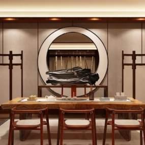 新中式茶室3D模型【ID:630756159】