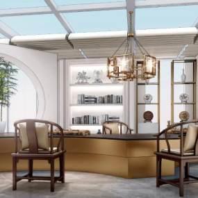新中式风格茶室3D模型【ID:943297303】