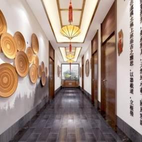 新中式茶室 3D模型【ID:636204625】