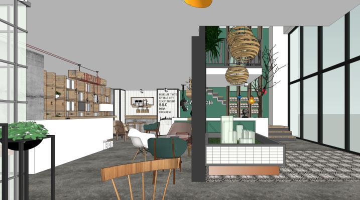 工業風格咖啡廳SU模型【ID:846953696】