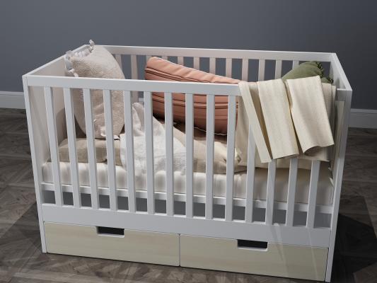 现代婴儿床儿童床3D模型【ID:932468082】